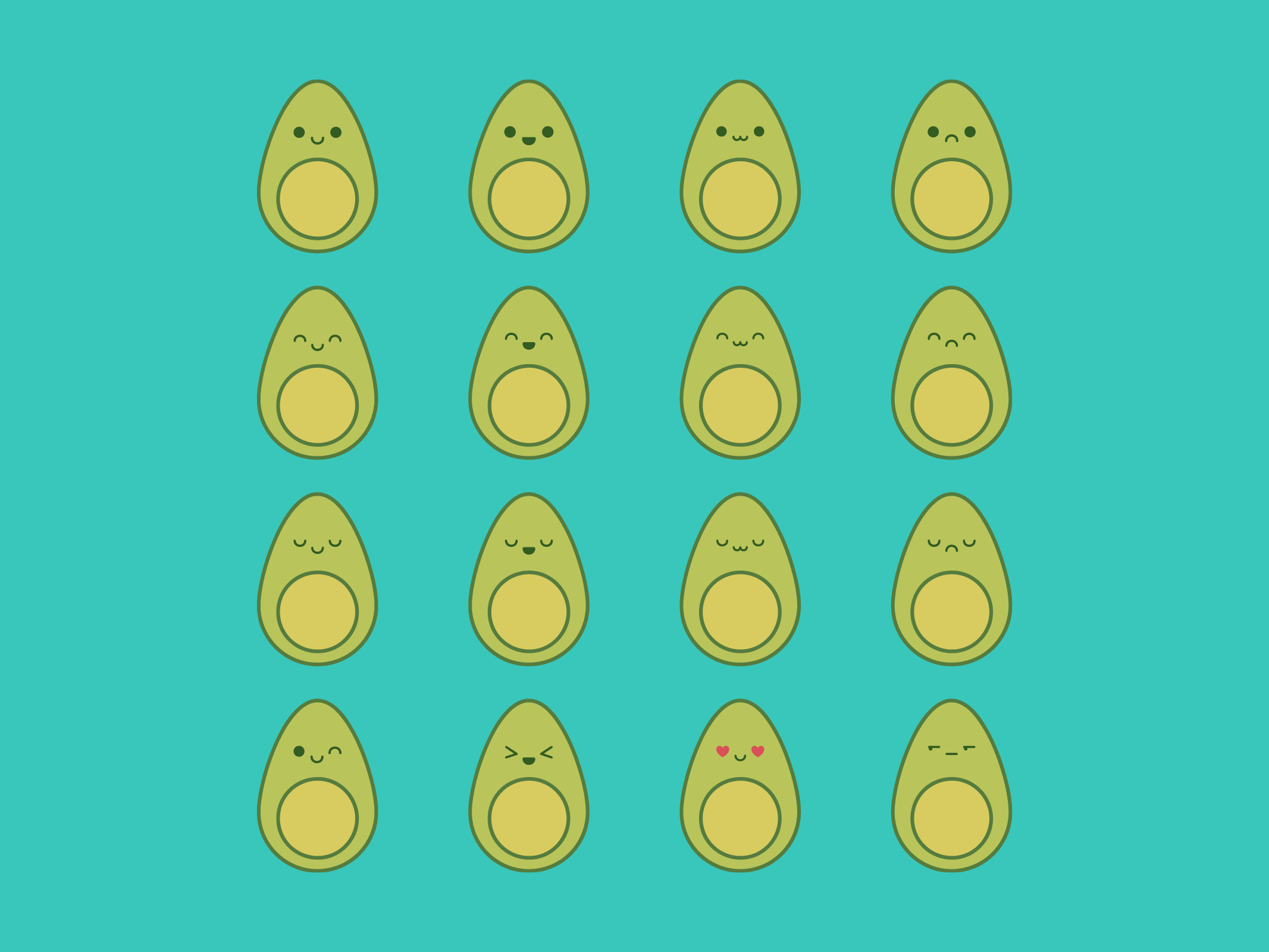 Cute Kawaii Avocado Emoji