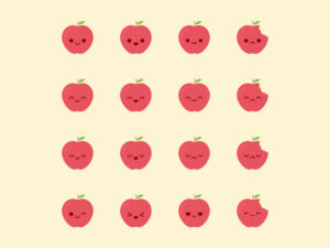 Cute Kawaii Apple Emoji
