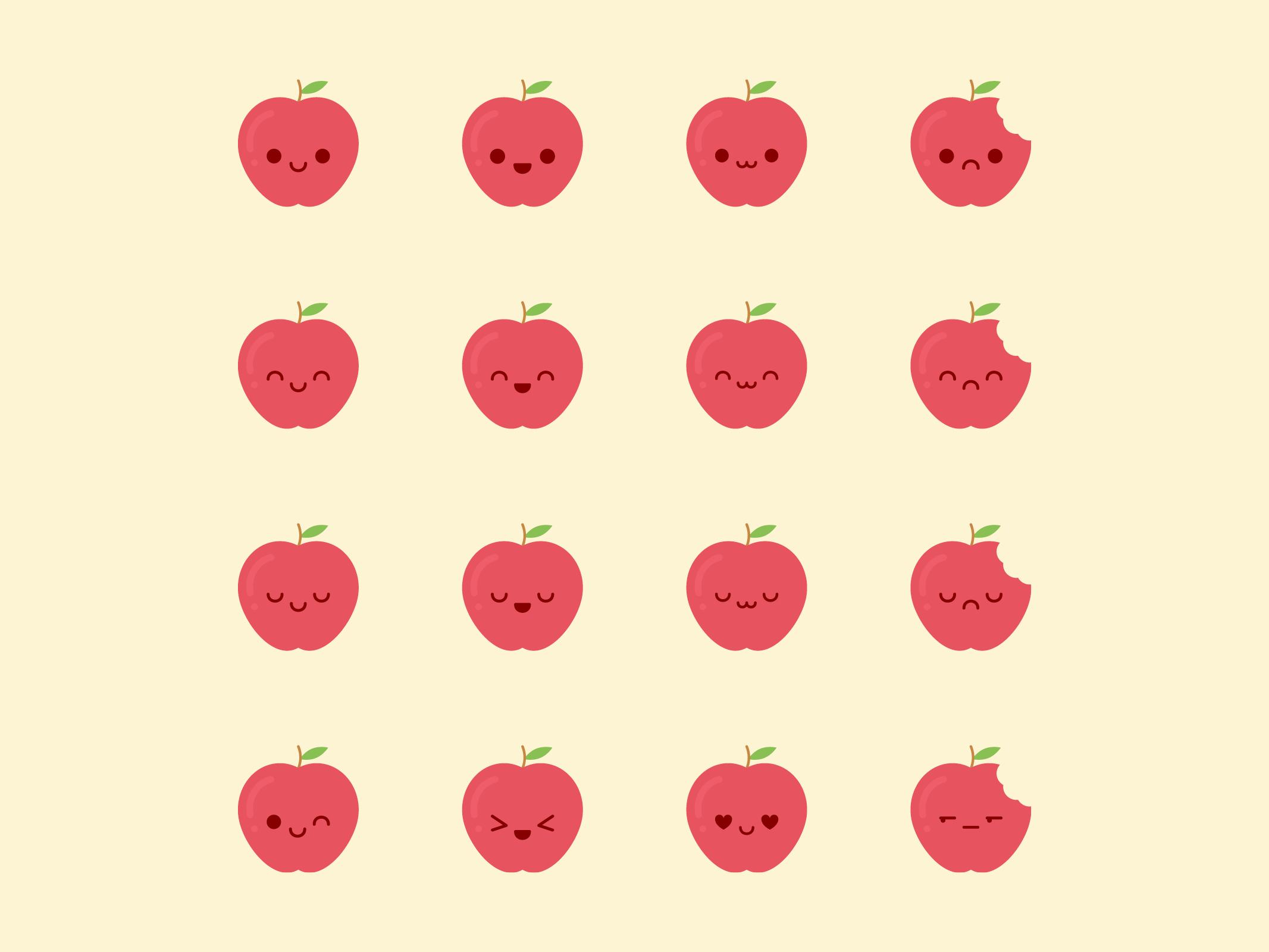Cute Kawaii Apple Emoji