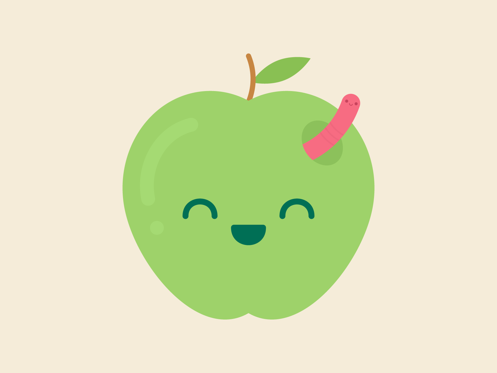 Cute Kawaii Apple and Worm
