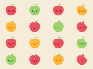 Cute Kawaii Apples