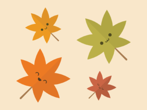 Cute Kawaii Autumn Leaves