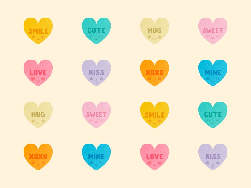 Cute Kawaii Candy Hearts