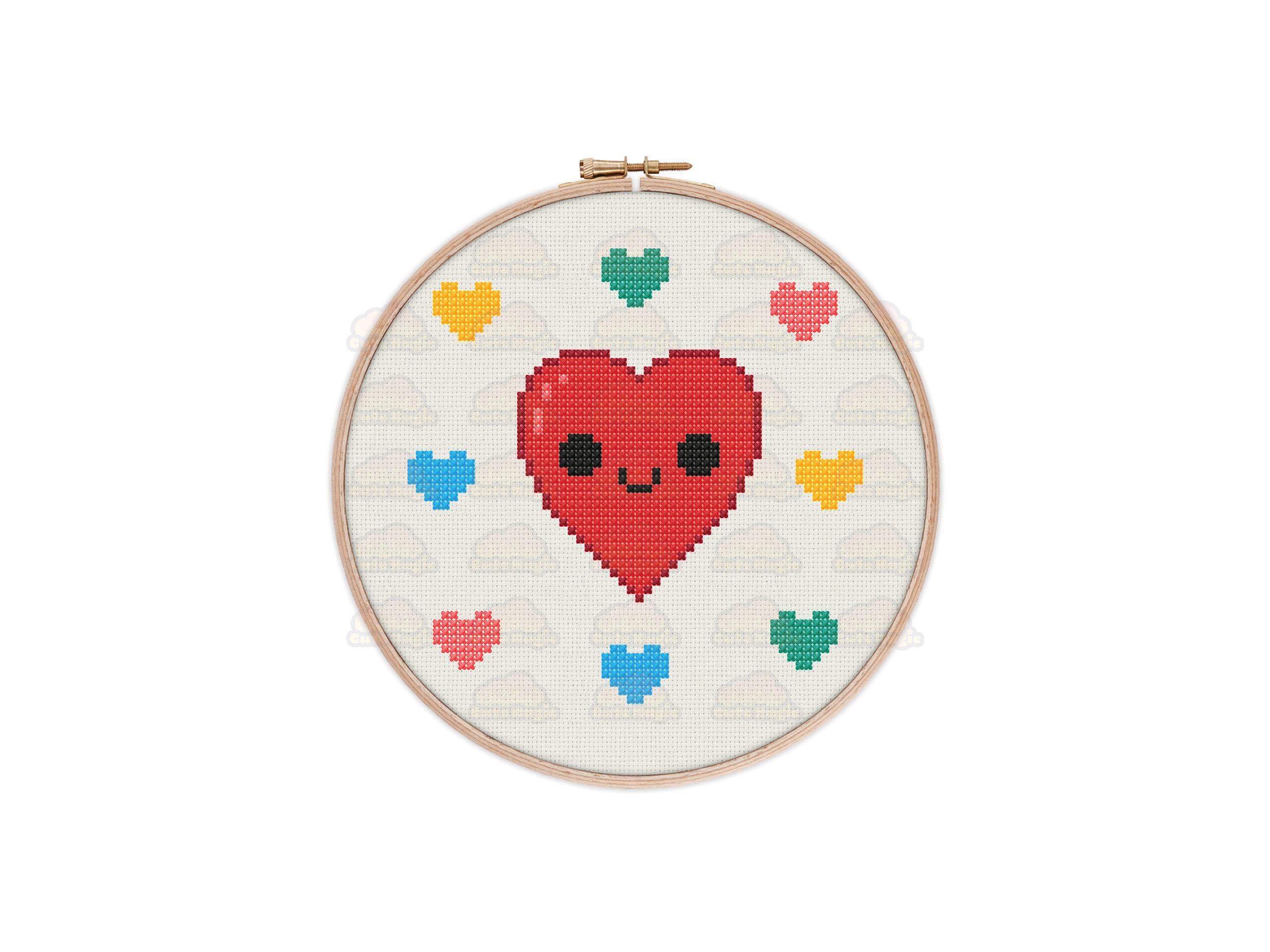Love Hearts Cross Stitch Pattern