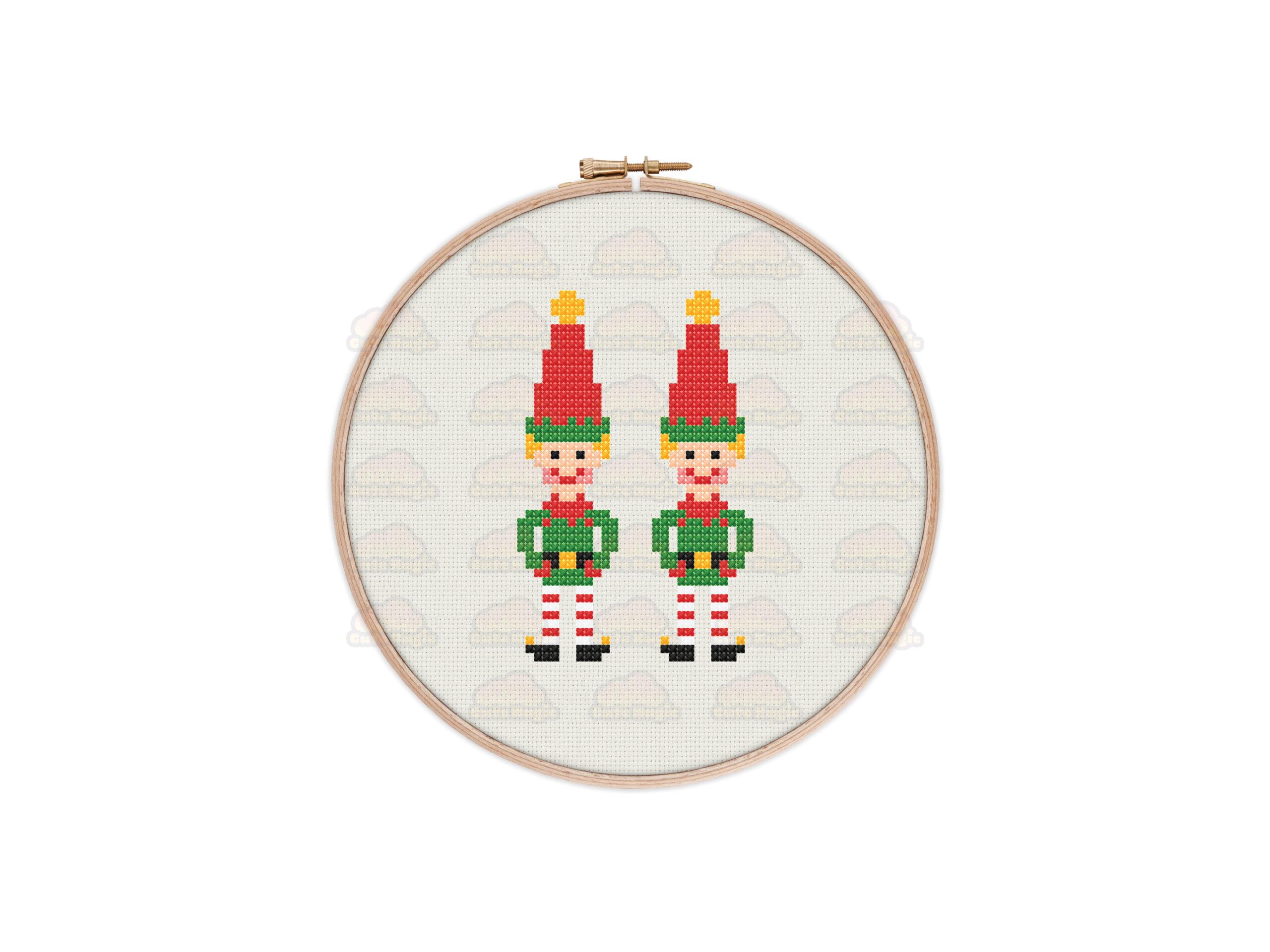 Christmas Elves Cross Stitch Pattern