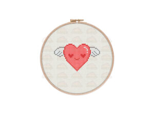 Flying Heart Cross Stitch Pattern