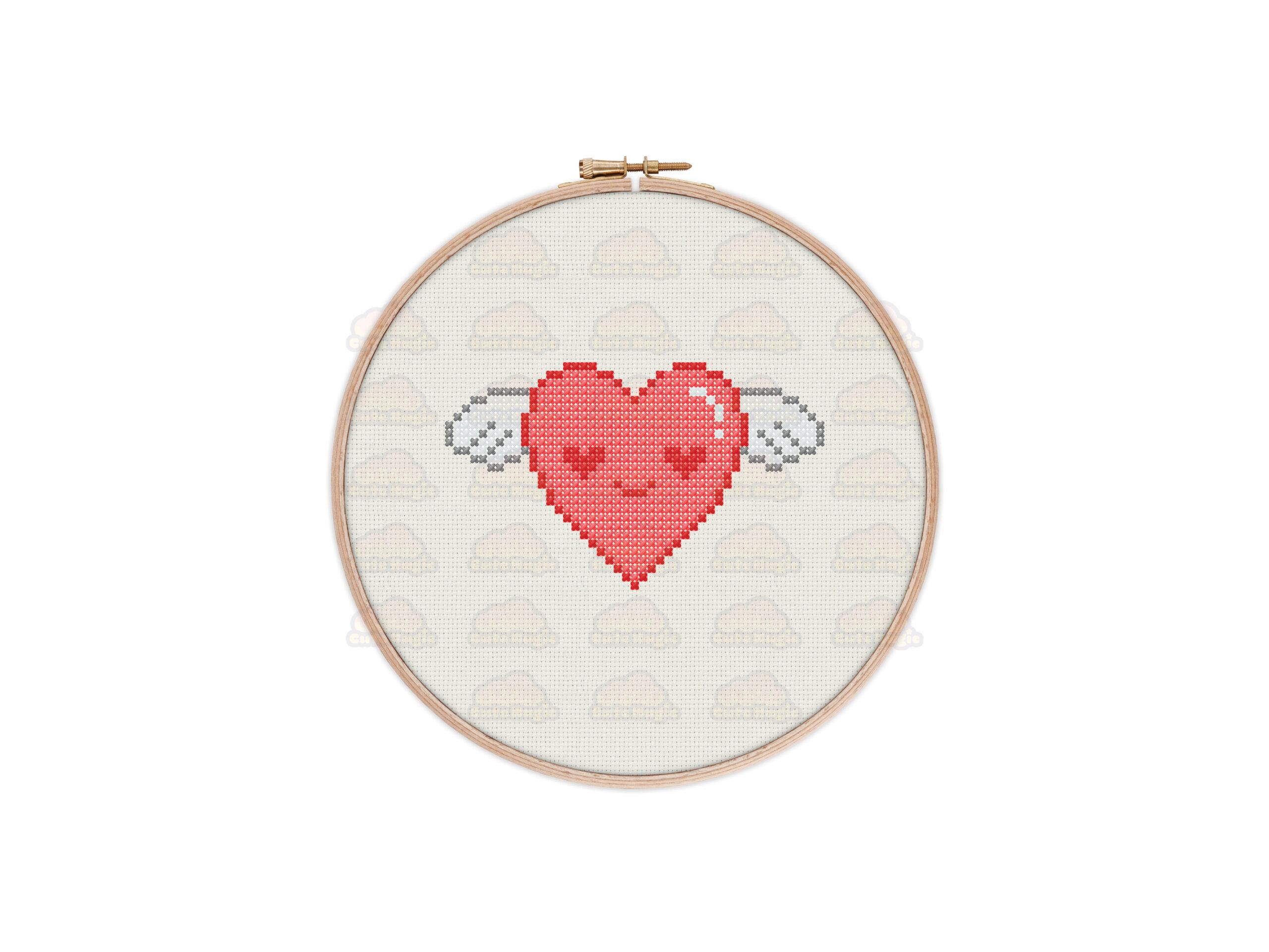 Flying Heart Cross Stitch Pattern