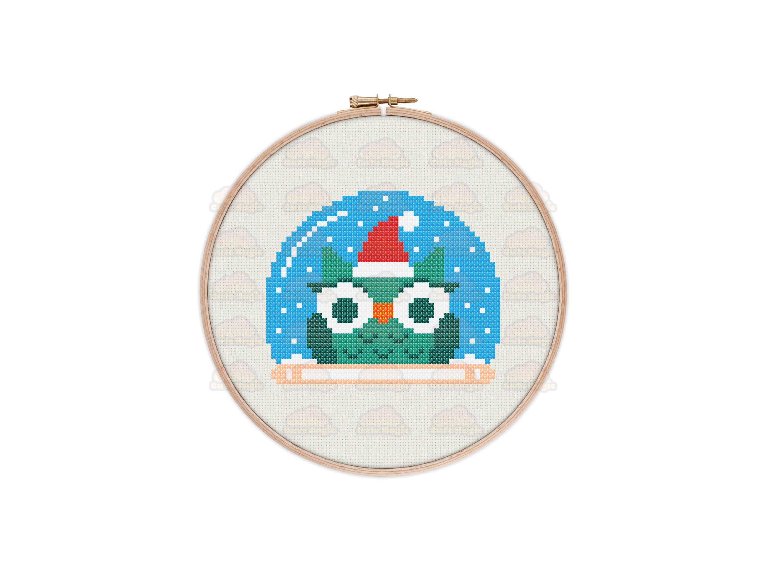 Owl Snow Globe Cross Stitch Pattern