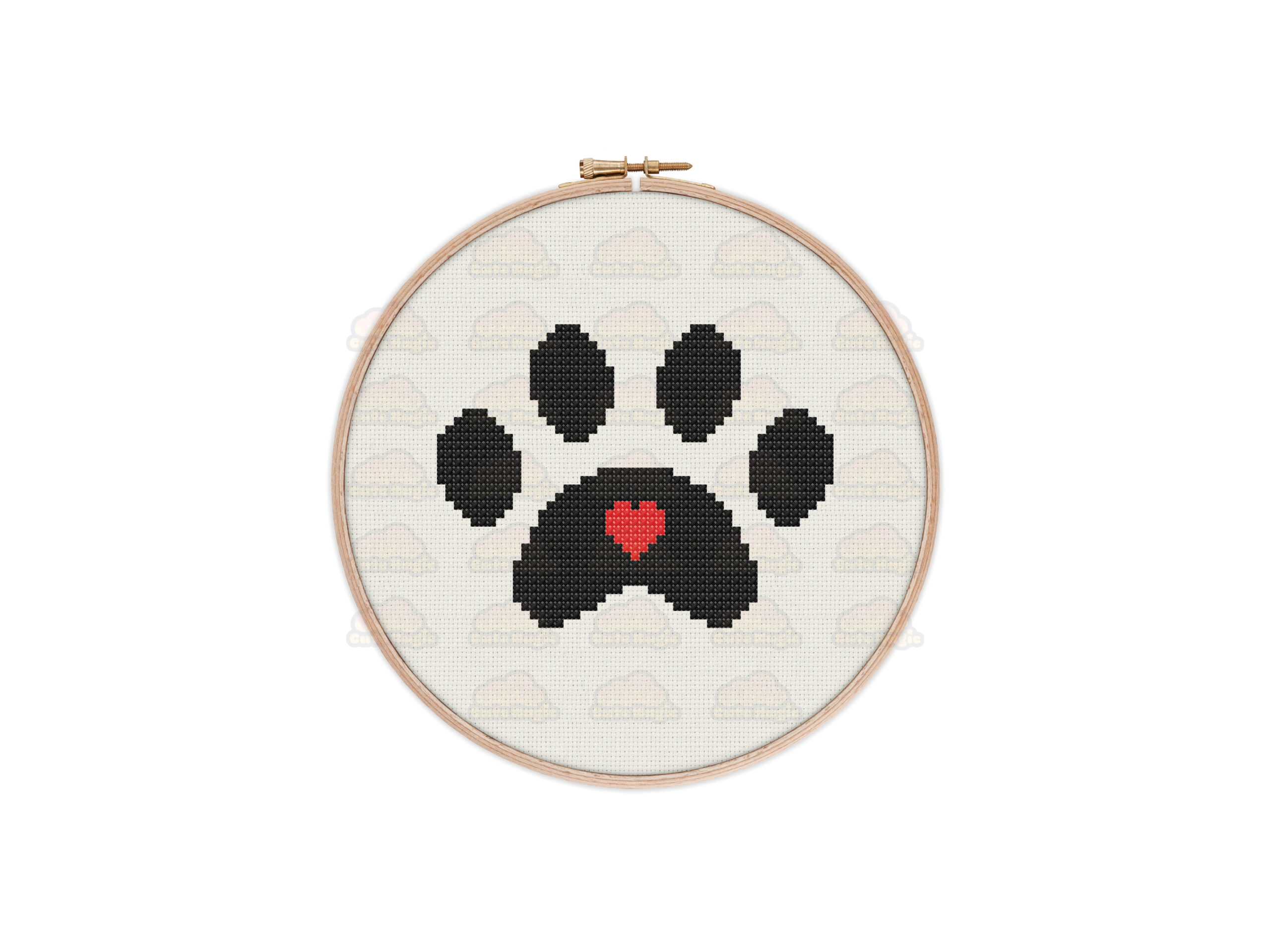 Paw Print Cross Stitch Pattern