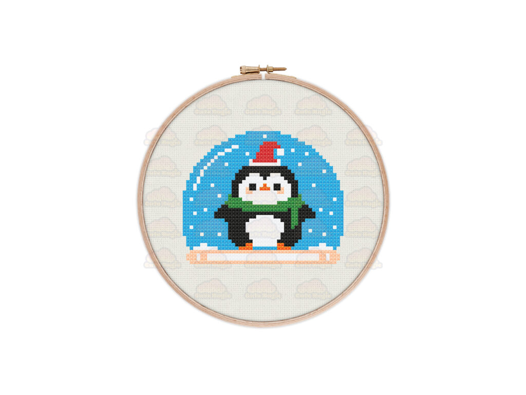 Penguin Snow Globe Cross Stitch Pattern