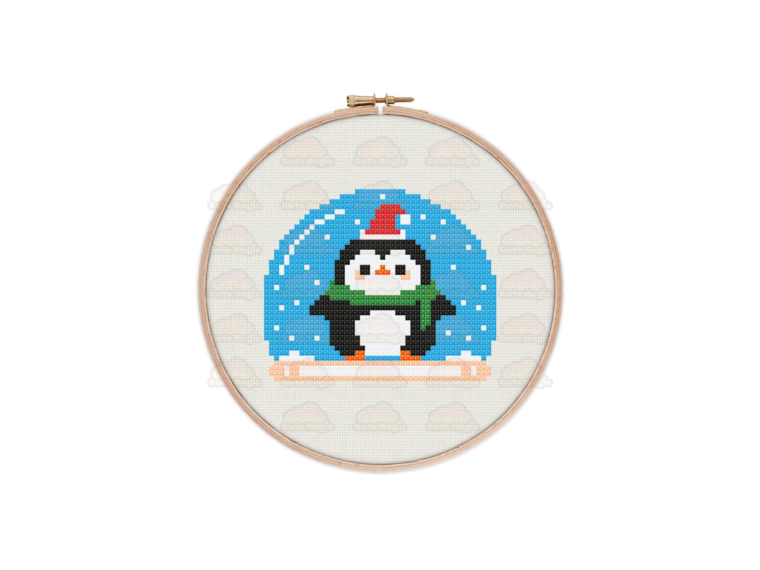 Penguin Snow Globe Cross Stitch Pattern