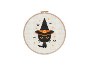 Witchy Cat Cross Stitch Pattern