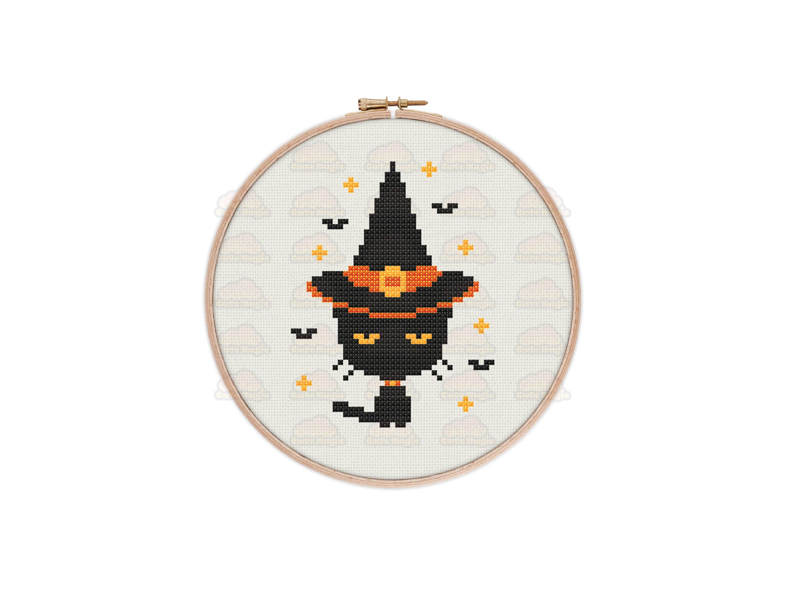 Witchy Cat Cross Stitch Pattern
