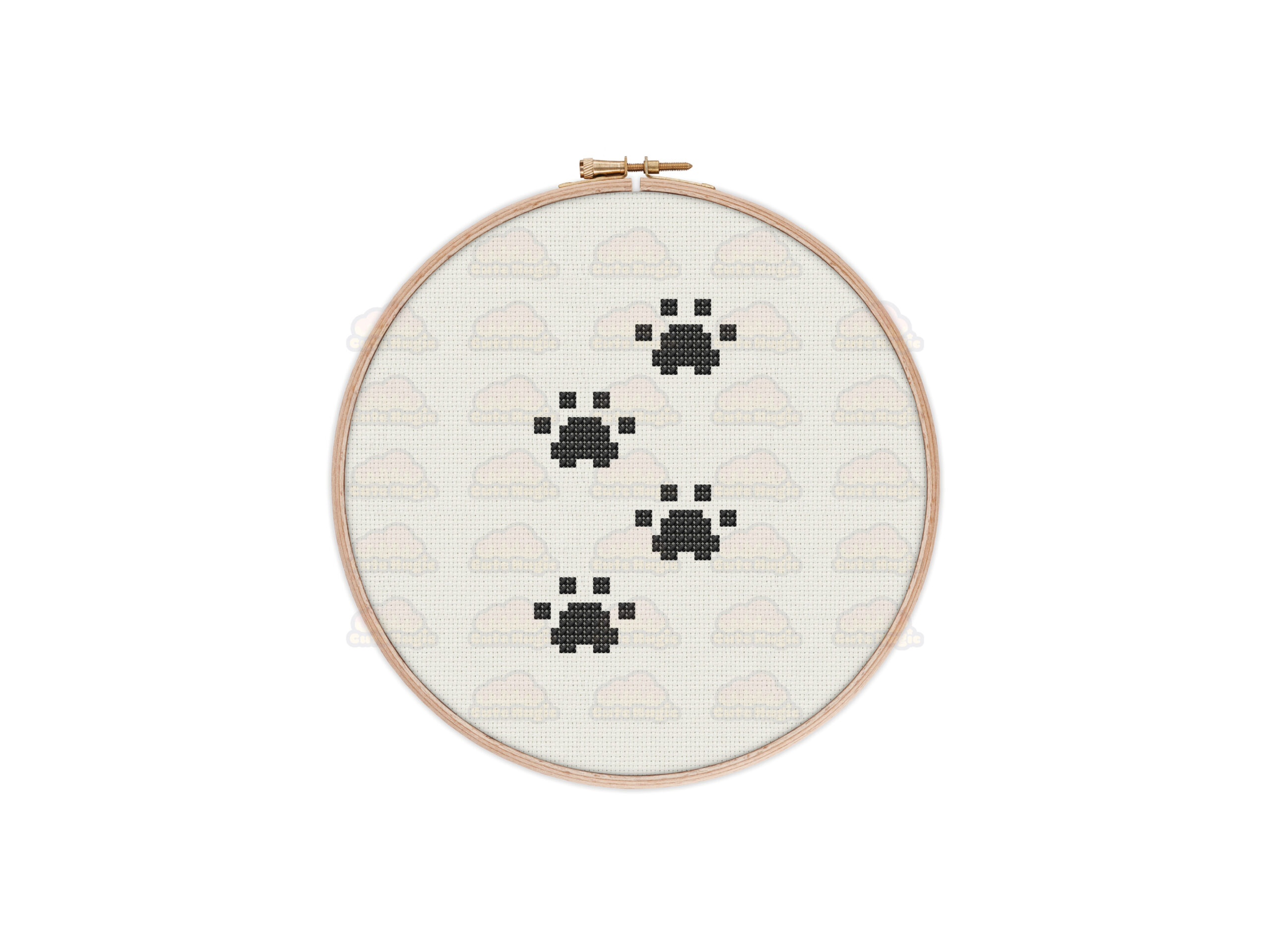 Paw Prints Cross Stitch Pattern
