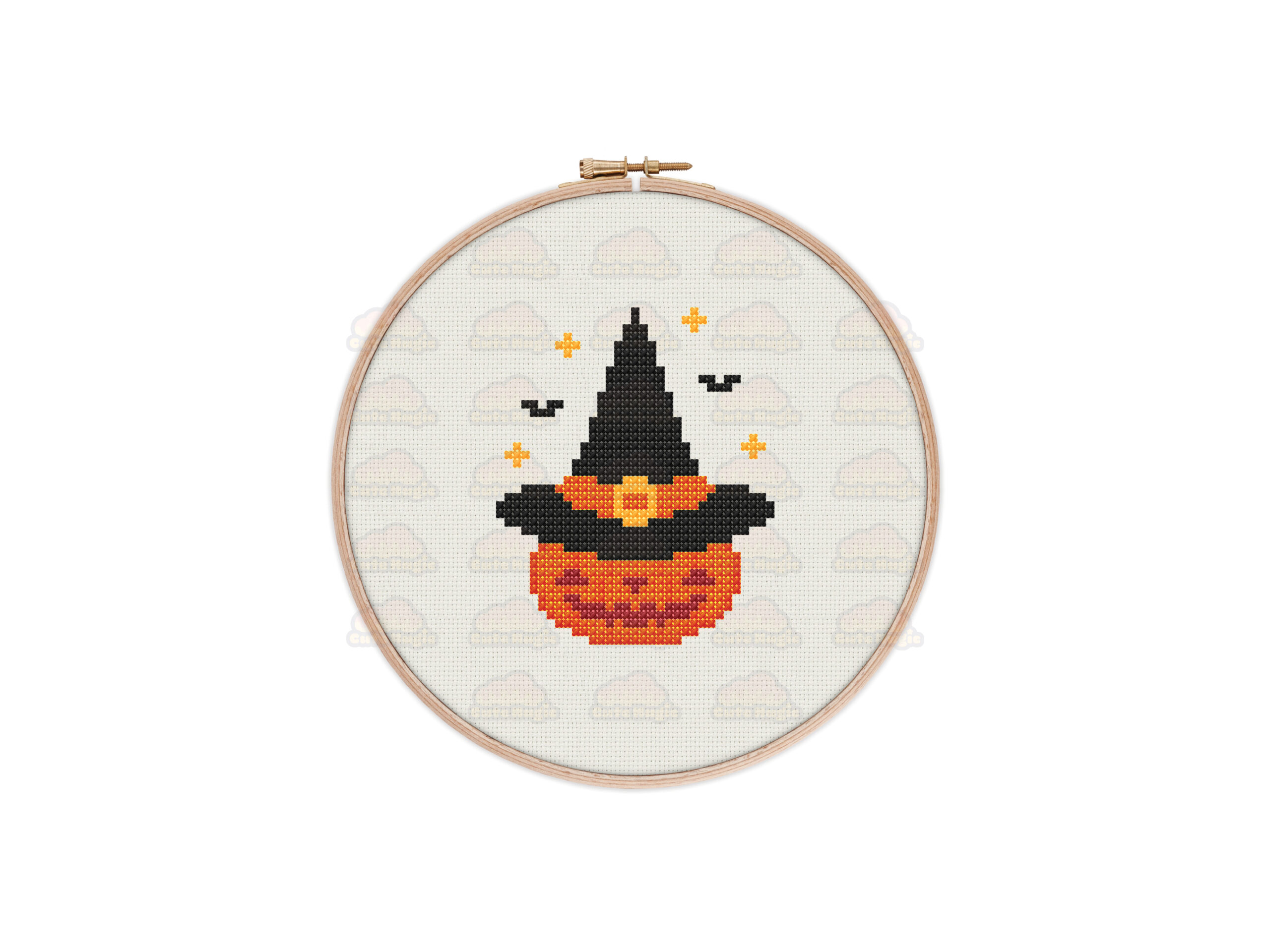 Witchy Pumpkin Cross Stitch Pattern
