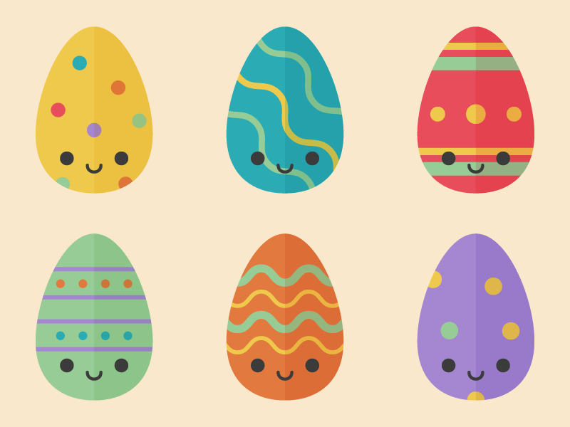 Cute Kawaii Easter Eggs