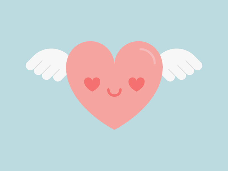 Cute Kawaii Flying Heart