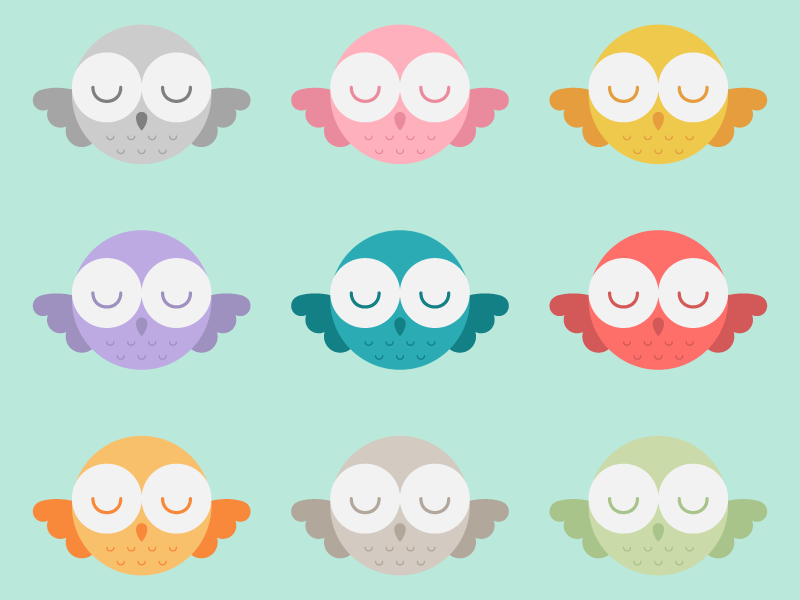 Cute Kawaii Flying Owls