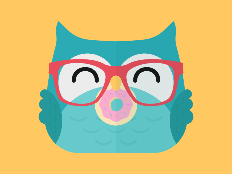 Cute Kawaii Owl With Glasses & Donut