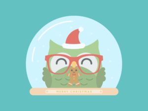 Cute Kawaii Owl Christmas Snow Globe