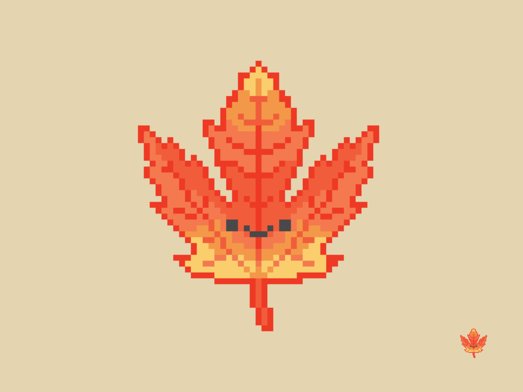 Cute Kawaii Autumn Leaf Pixel
