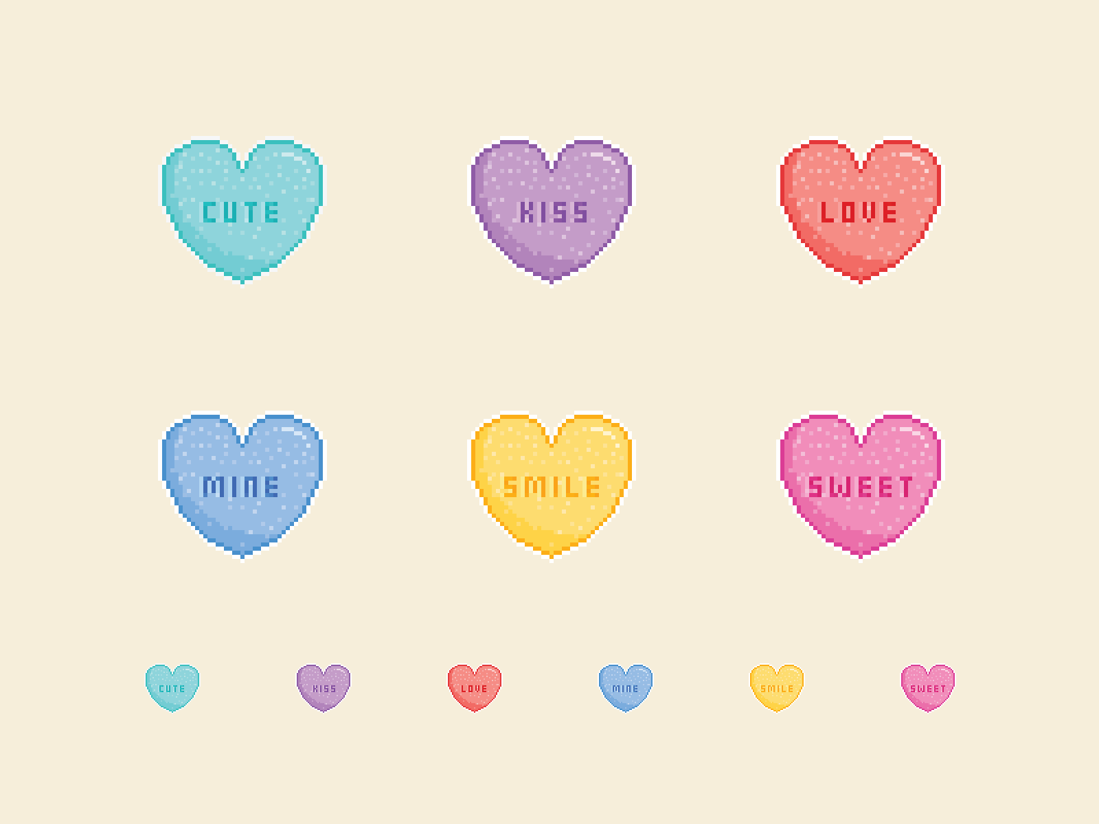 Candy Hearts Pixel