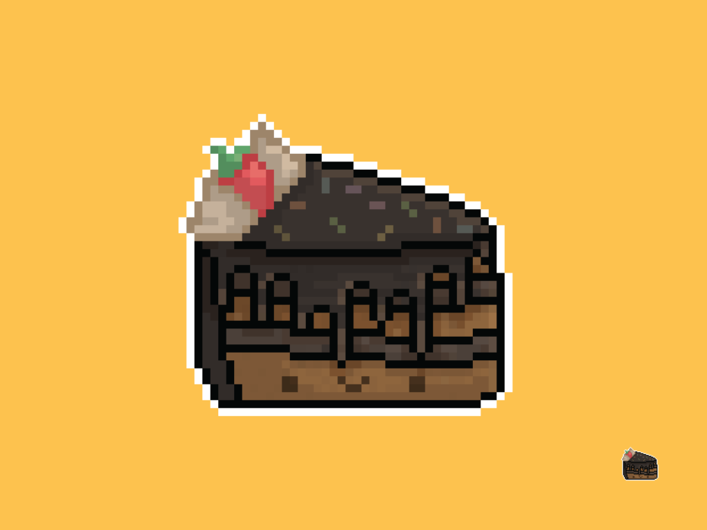 Cute Kawaii Chocolate Cake Pixel