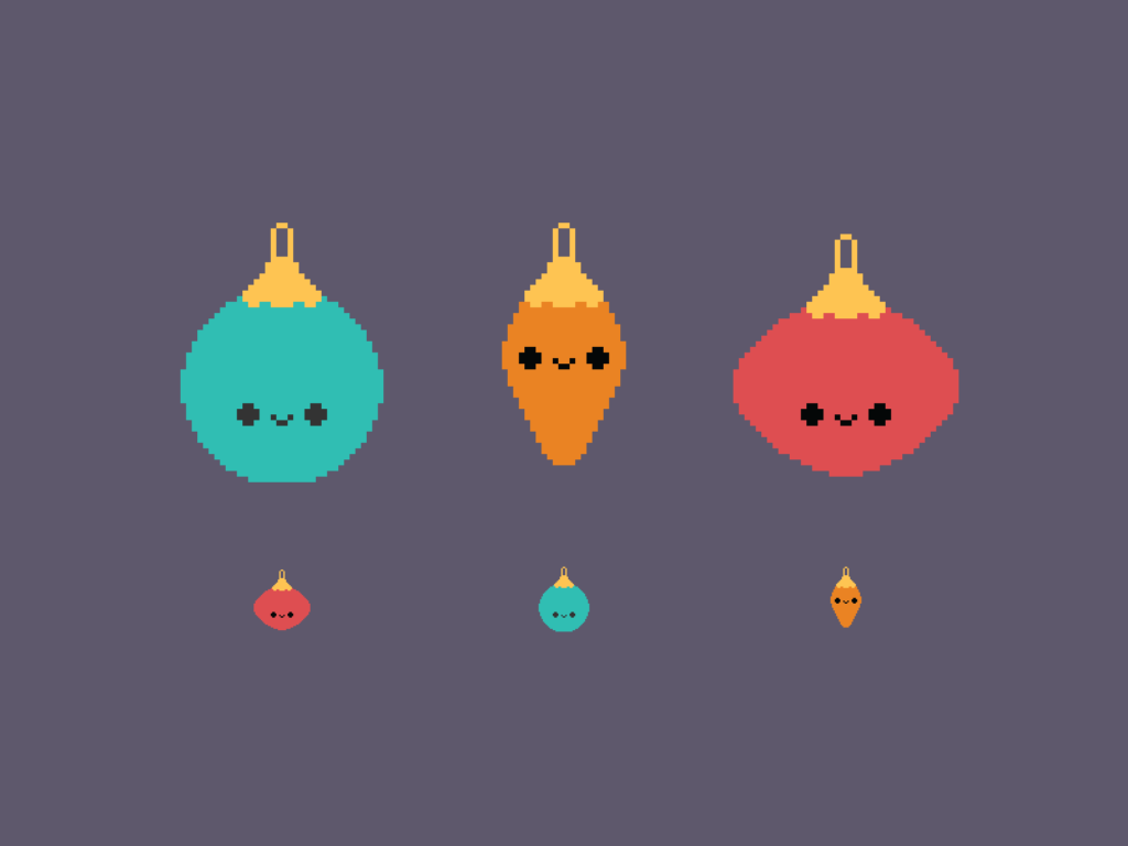 Cute Kawaii Christmas Baubles Pixel