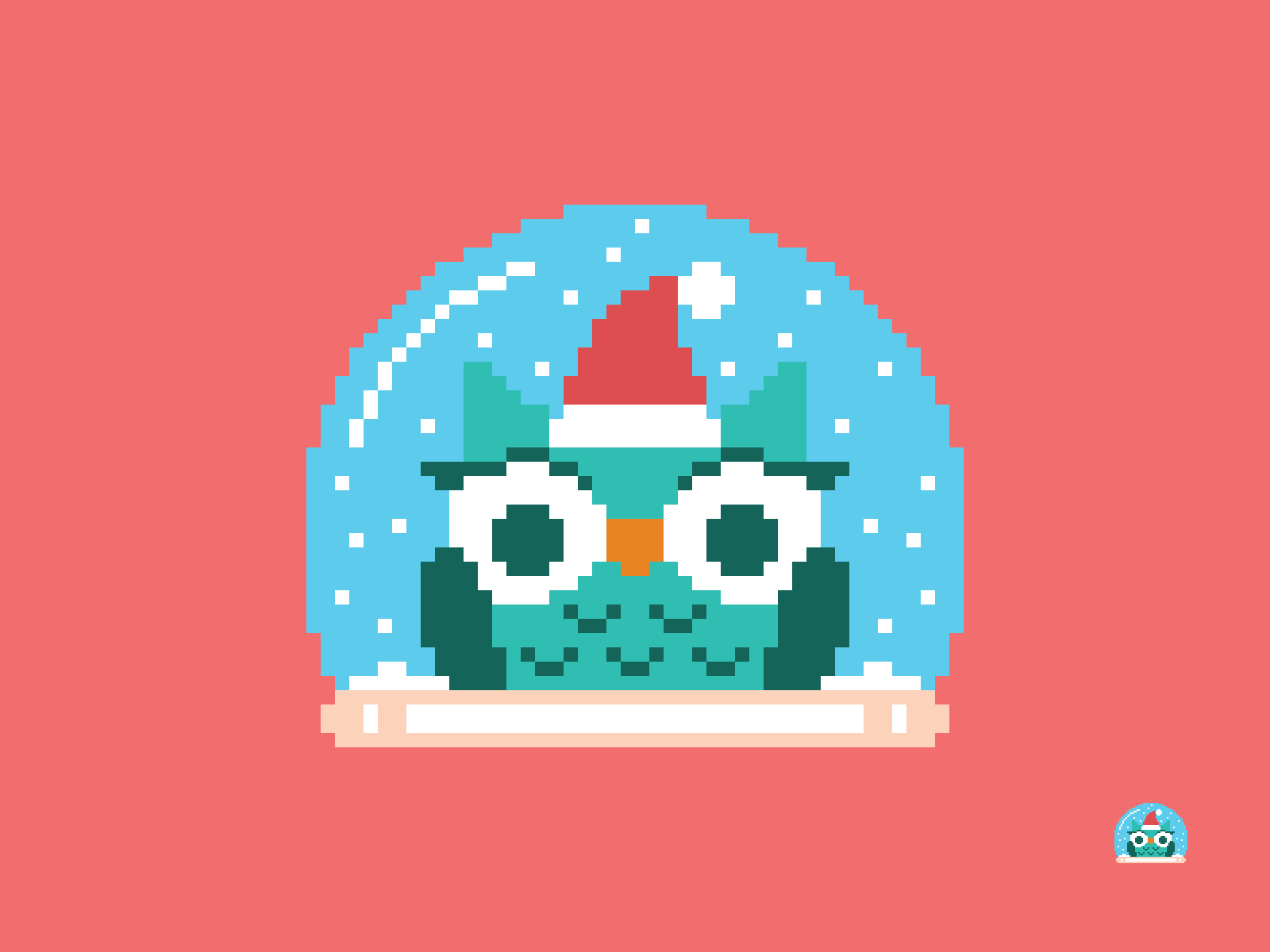 Christmas Owl Snow Globe Pixel