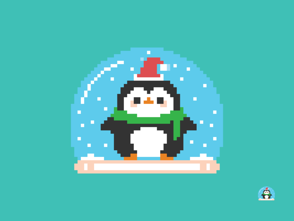 Christmas Penguin Snow Globe Pixel