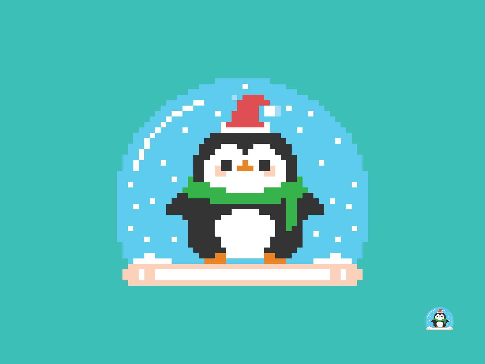 Christmas Penguin Snow Globe Pixel