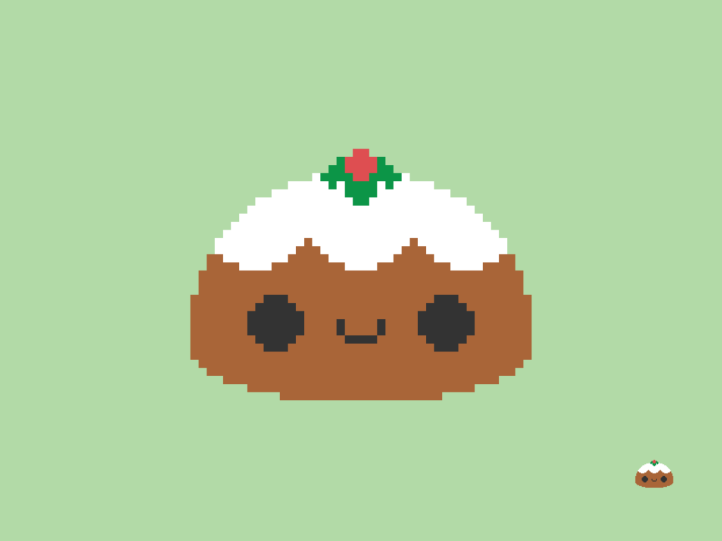 Cute Kawaii Christmas Pudding Pixel