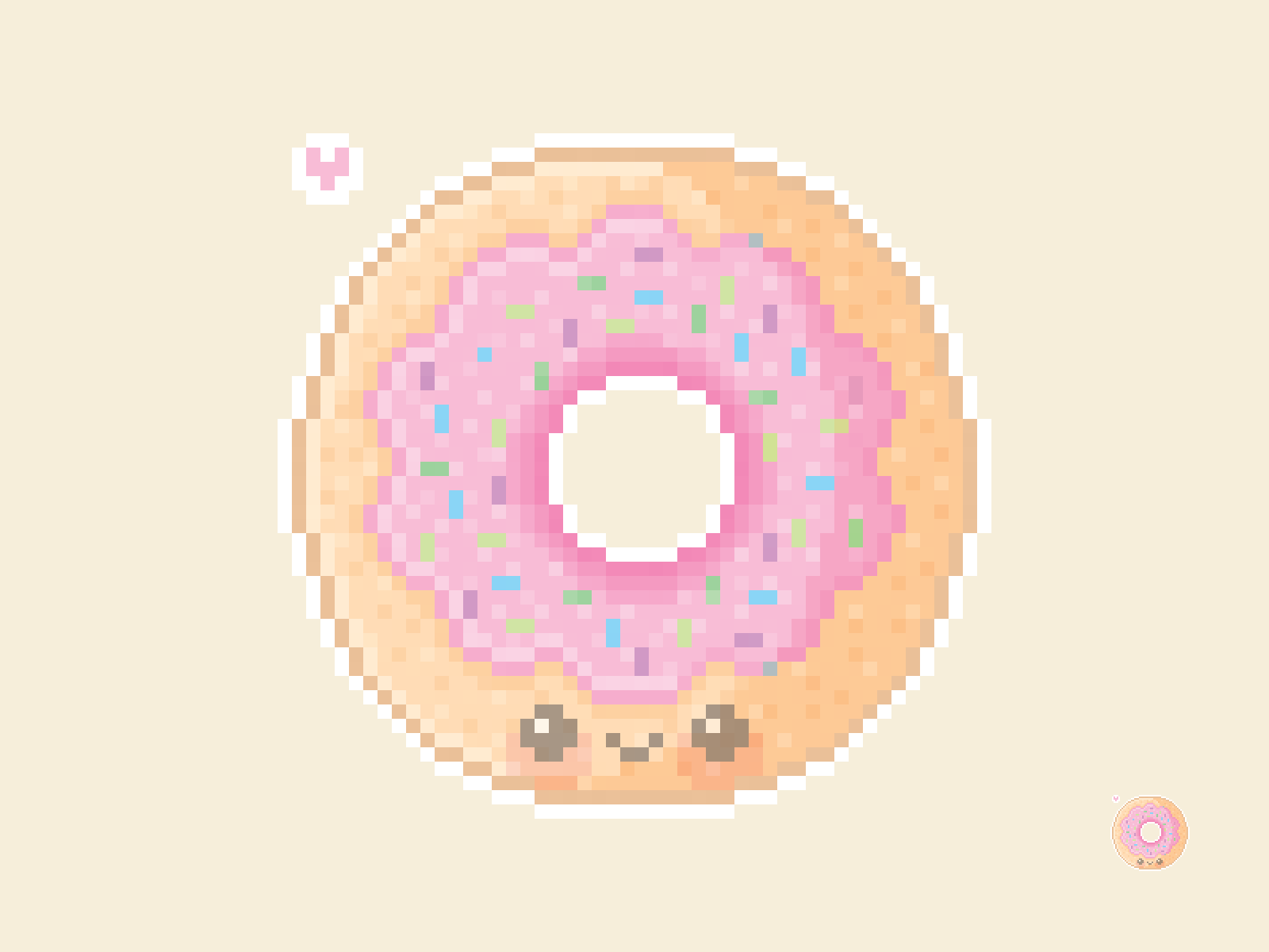 Cute Kawaii Donut Pixel