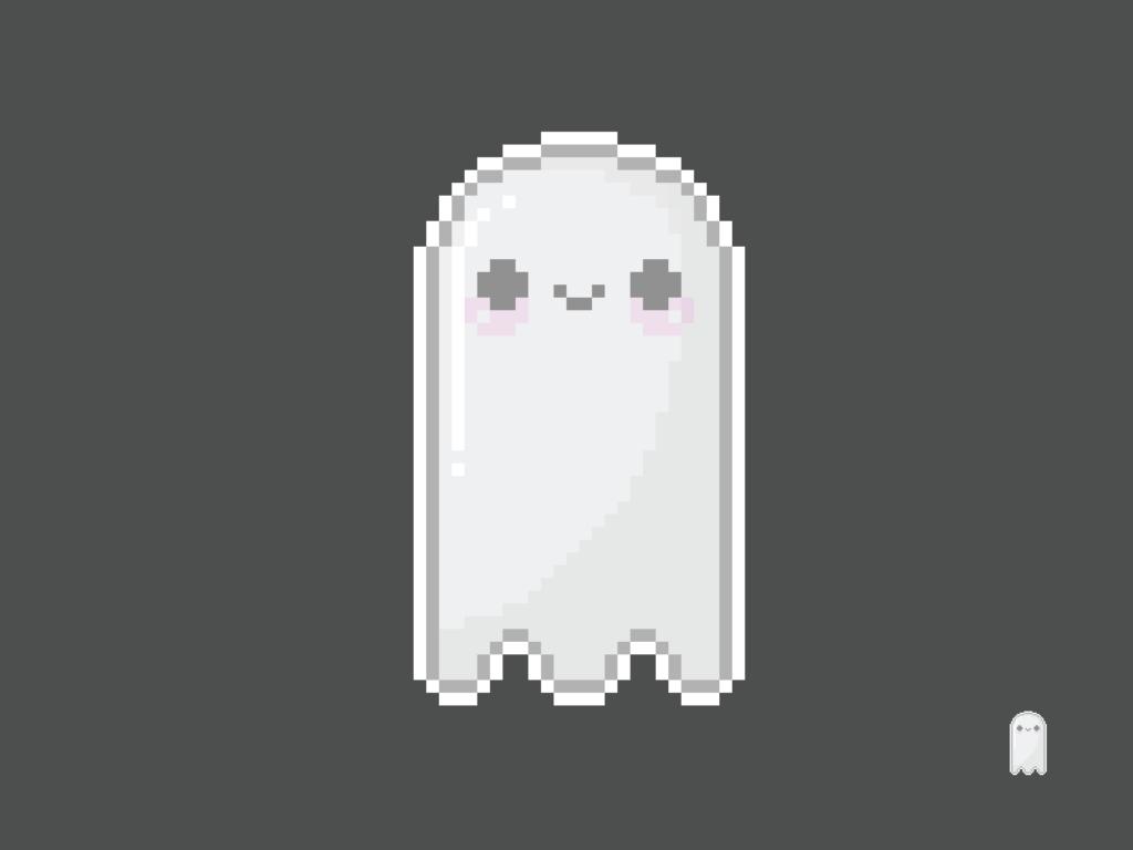 Cute Kawaii Ghost Pixel