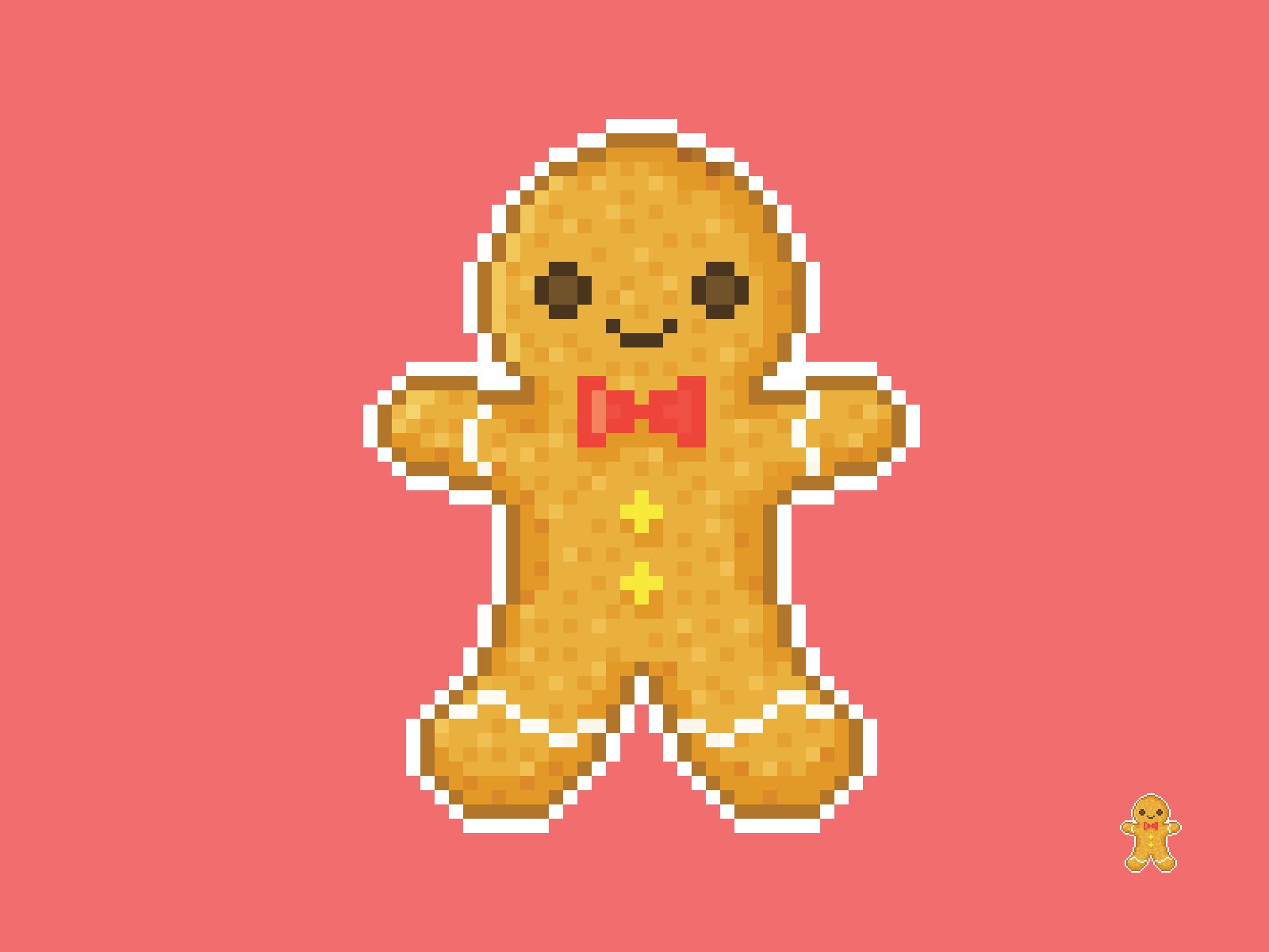 Cute Kawaii Gingerbread Man Men Cookie Pixel