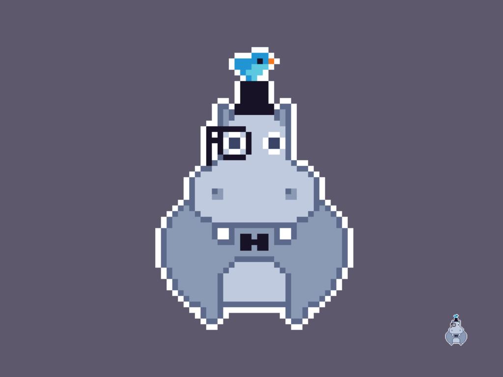 Gentleman Hippopotamus Pixel