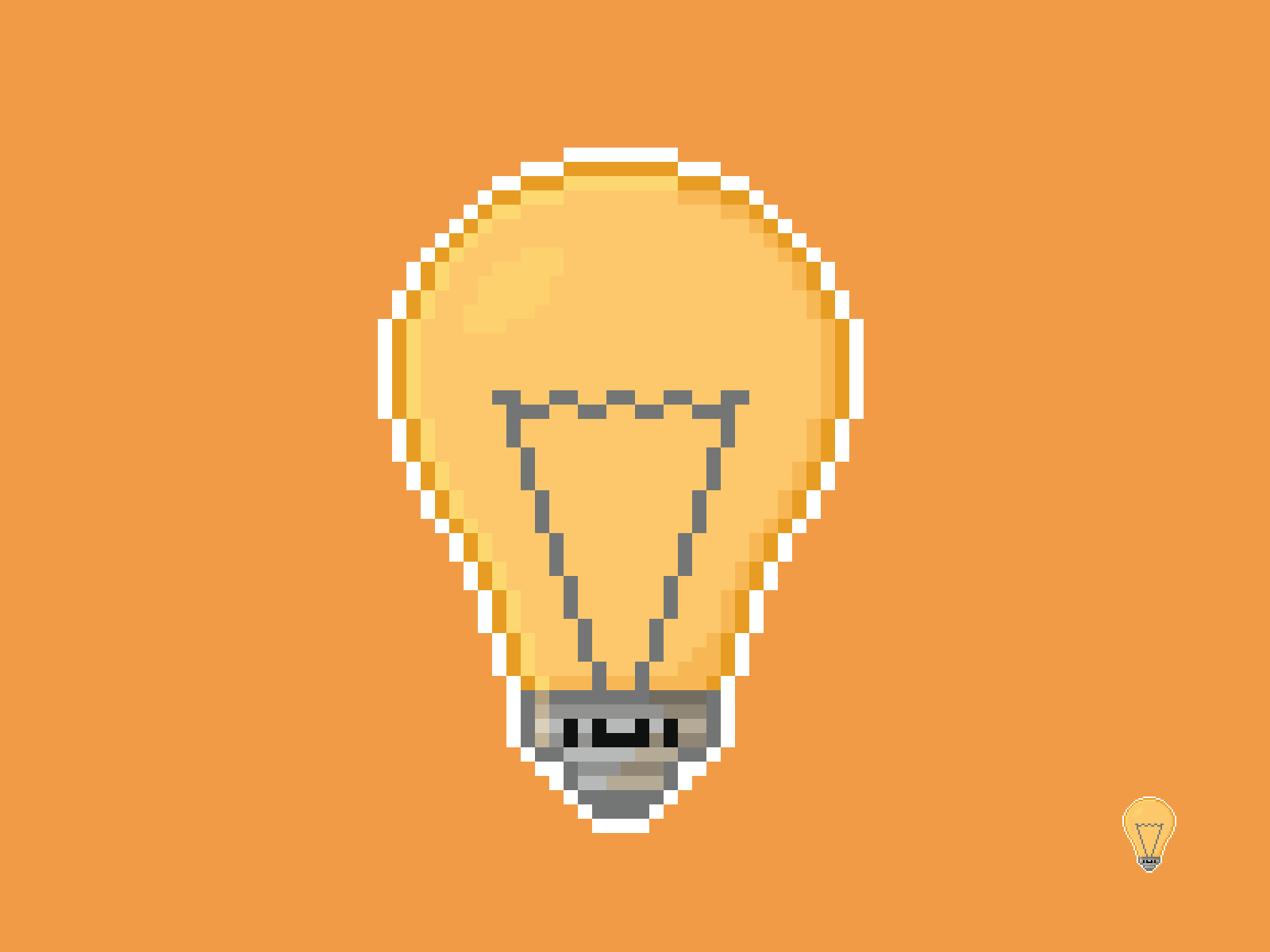 Cute Kawaii Light Bulb Pixel