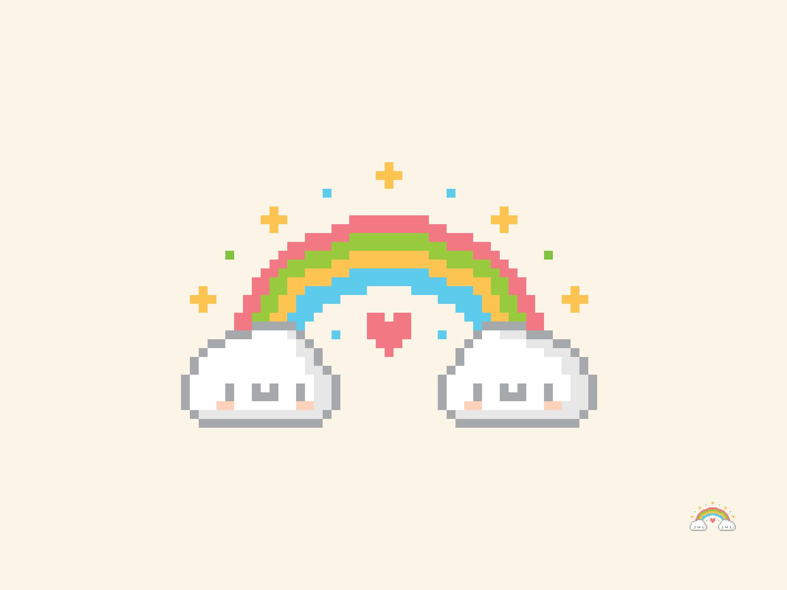 Cute Kawaii Rainbow Pixel
