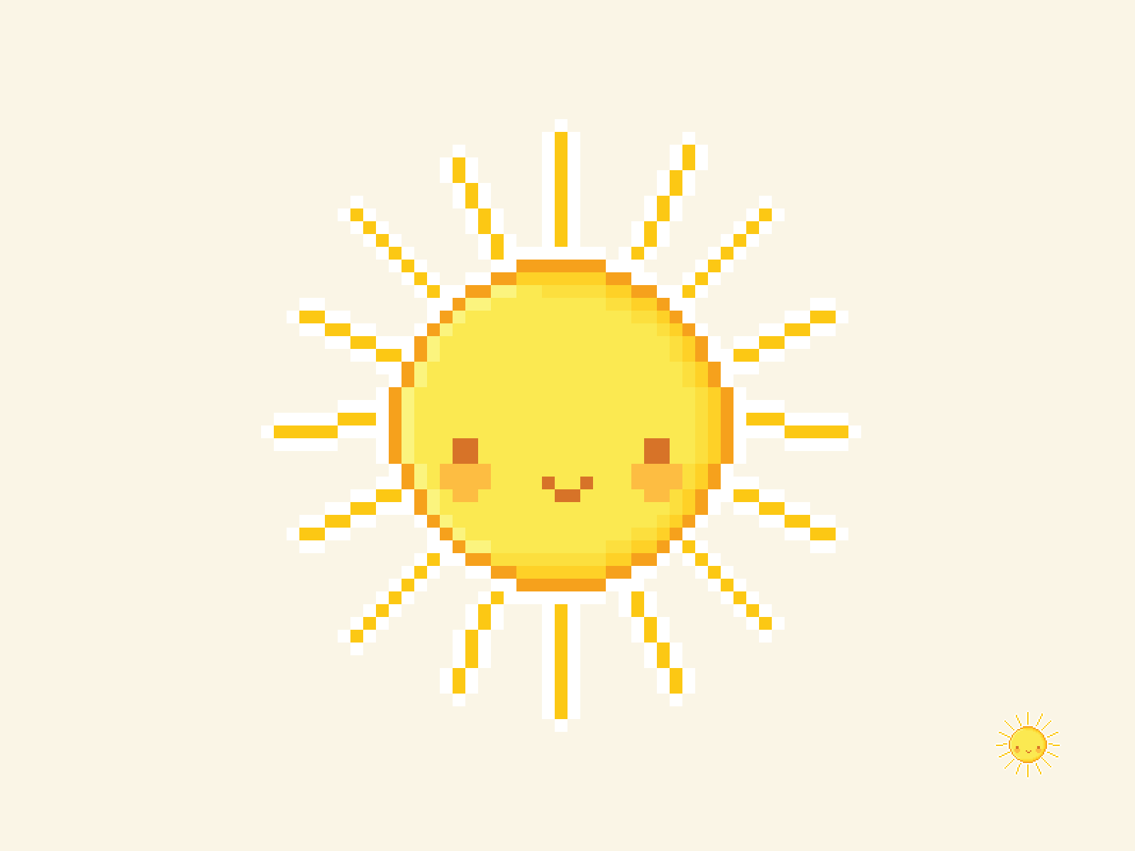 Cute Kawaii Sun Pixel