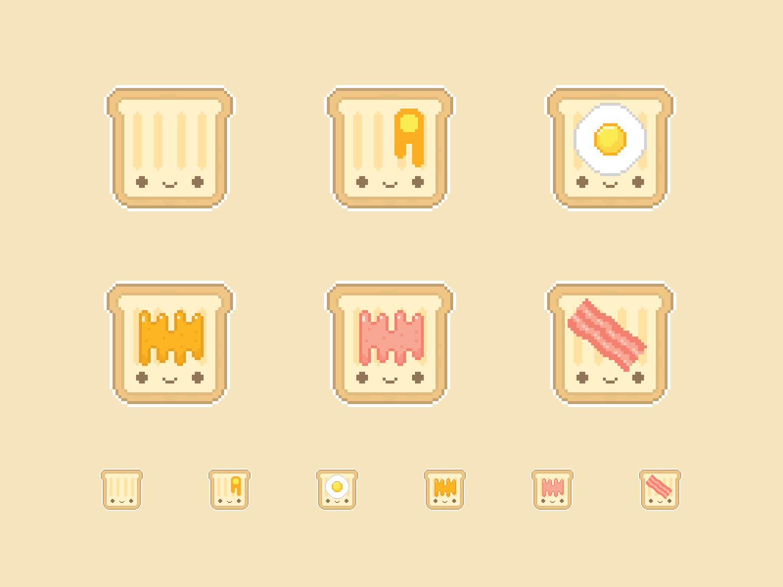 Cute Kawaii Toast Pixel