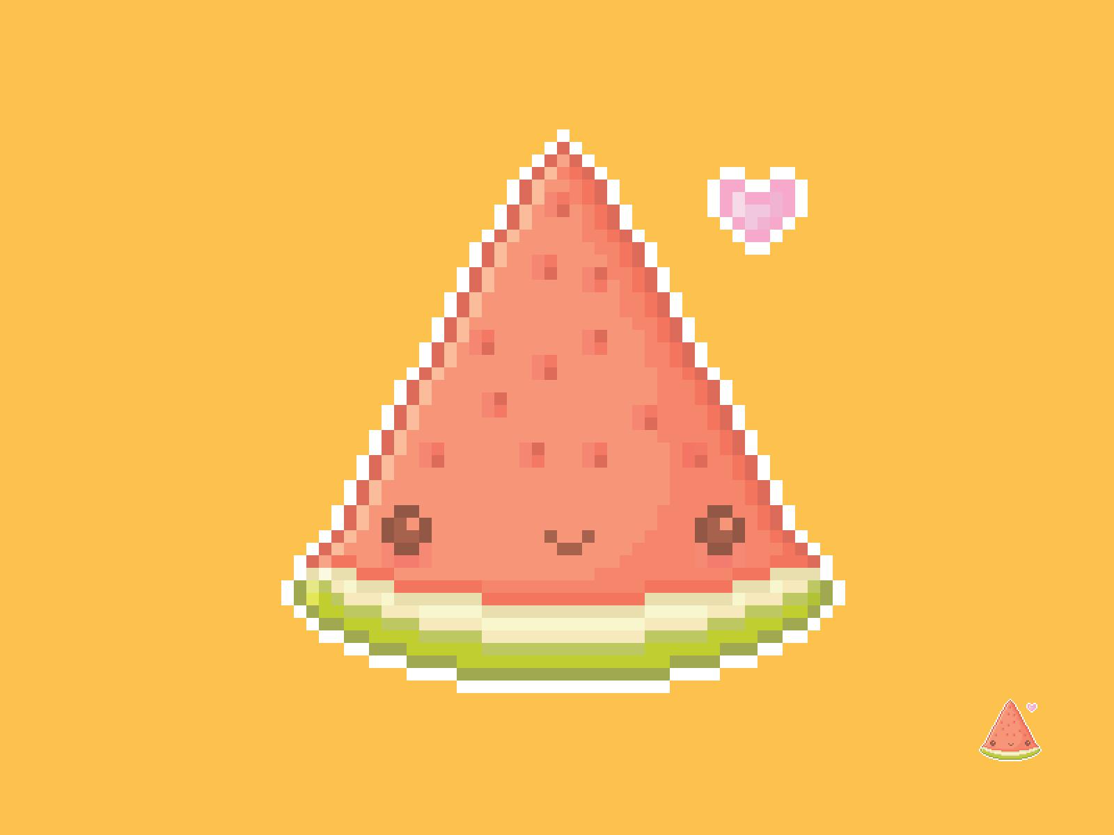 Cute Kawaii Watermelon Pixel