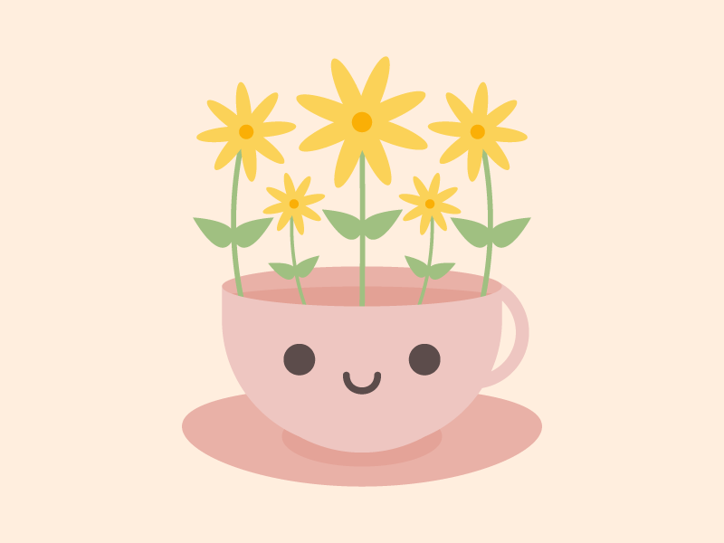 Cute Kawaii Flower Teacup