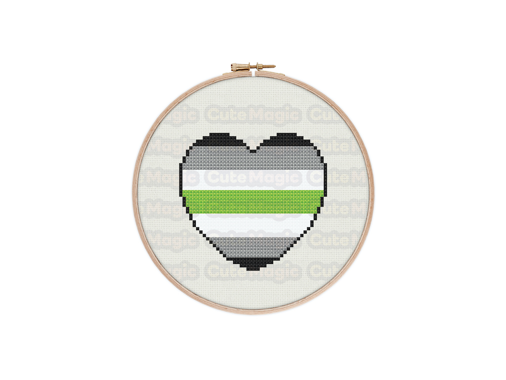 Agender Pride Heart Digital Cross Stitch Pattern