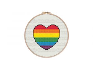 Rainbow Pride Heart Cross Stitch Pattern