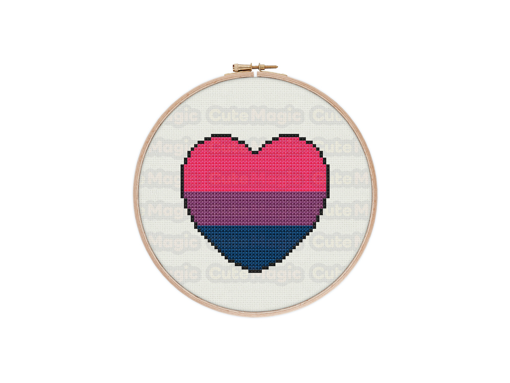 Bisexual Pride Heart Digital Cross Stitch Pattern