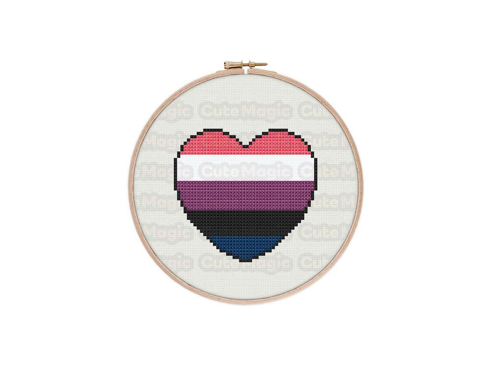 Genderfluid/Genderflexible Pride Heart Digital Cross Stitch Pattern