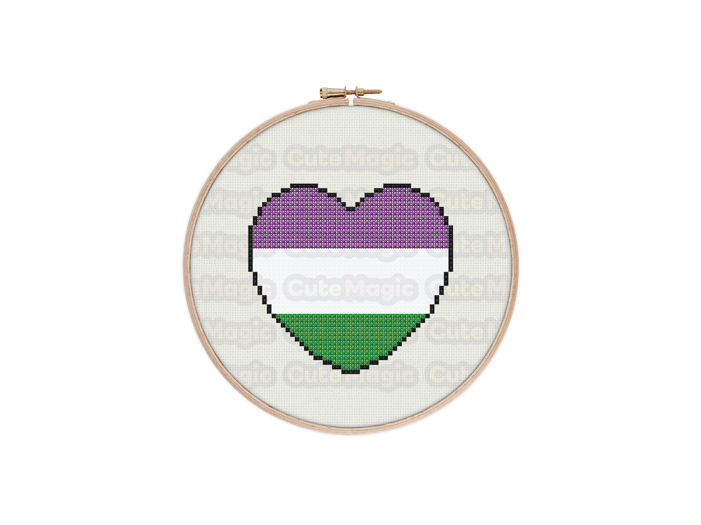 Genderqueer Pride Heart Digital Cross Stitch Pattern