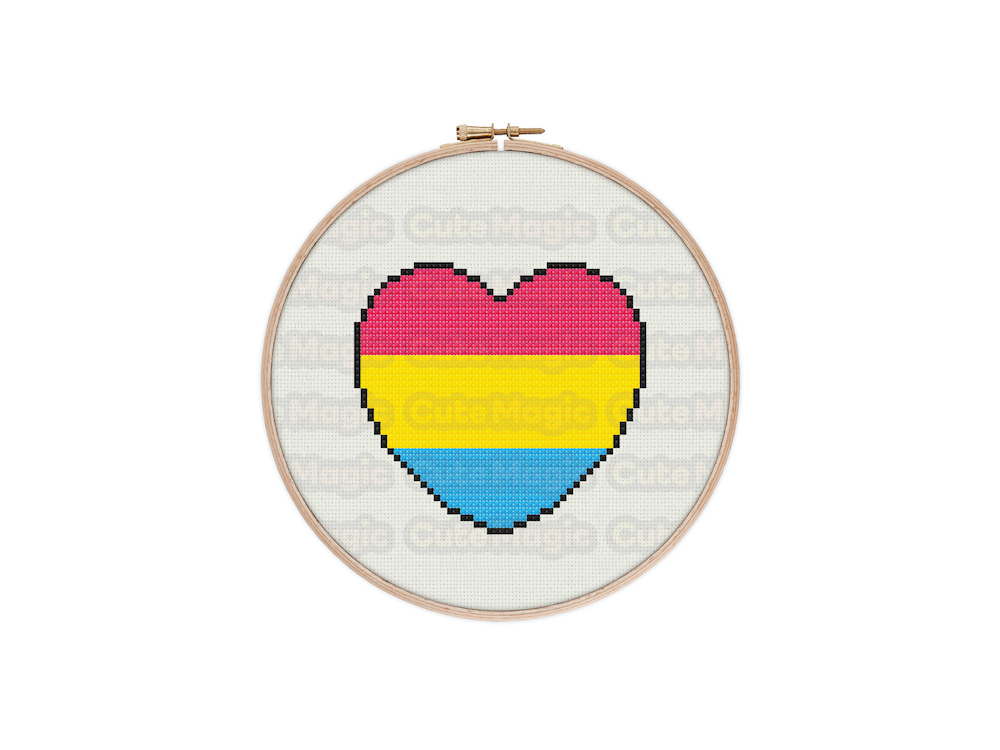 Pansexual Pride Heart Digital Cross Stitch Pattern