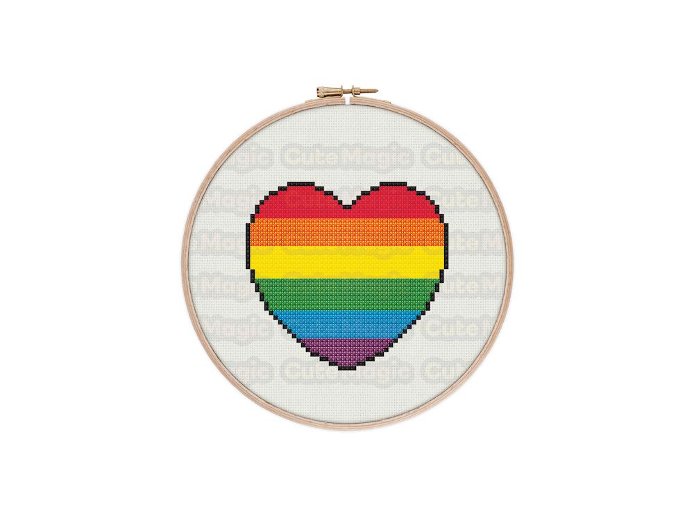 Rainbow Pride Heart Cross Stitch Pattern