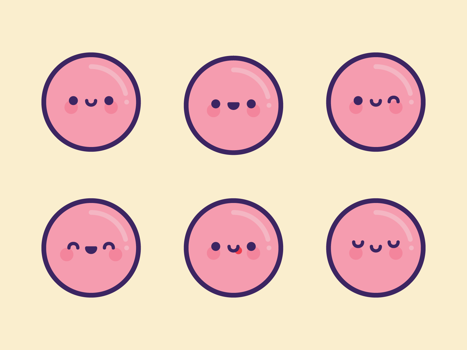 Cute Kawaii Pink Bubble Emoji